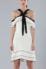 Drexcode - White and black off-shoulder flared dress - Proenza Schouler - Sale - 4
