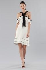 Drexcode - White and black off-shoulder flared dress - Proenza Schouler - Sale - 5
