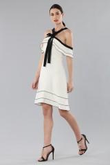 Drexcode - White and black off-shoulder flared dress - Proenza Schouler - Sale - 2