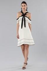 Drexcode - White and black off-shoulder flared dress - Proenza Schouler - Sale - 6
