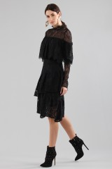 Drexcode - Short black dress with flounces and cape sleeves - Perseverance - Sale - 4