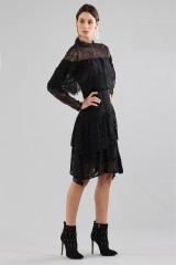 Drexcode - Short black dress with flounces and cape sleeves - Perseverance - Sale - 7