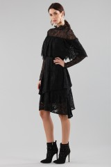 Drexcode - Short black dress with ruffles and cape sleeves - Perseverance - Rent - 6
