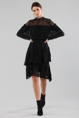 Drexcode - Short black dress with flounces and cape sleeves - Perseverance - Sale - 5