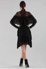 Drexcode - Short black dress with flounces and cape sleeves - Perseverance - Sale - 3