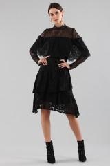 Drexcode - Short black dress with flounces and cape sleeves - Perseverance - Sale - 1