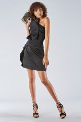 Drexcode - Short black dress with one-shoulder ruches detailing - Amur - Sale - 5