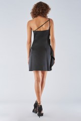 Drexcode - Short black dress with one-shoulder ruches detailing - Amur - Sale - 4
