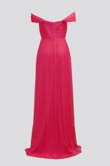 Drexcode - Off-shoulder fuchsia dress with slit - Cristallini - Rent - 9