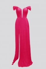 Drexcode - Off-shoulder fuchsia dress with slit - Cristallini - Rent - 8