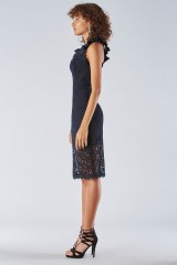Drexcode - Blue lace dress with transparencies - Halston Heritage - Rent - 3