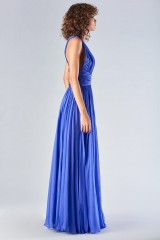 Drexcode - Long blue dress with uncovered back - Amur - Rent - 4
