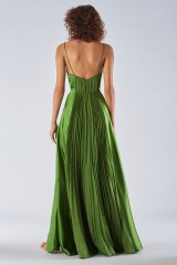 Drexcode - Long green dress with ruffles - Amur - Rent - 3