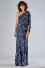 Drexcode - One shoulder dress with striped pattern - Halston - Rent - 1