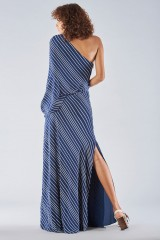 Drexcode - One shoulder dress with striped pattern - Halston - Rent - 5