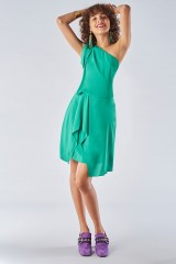 Drexcode - Green dress with asymmetrical sleeves - Halston - Rent - 1