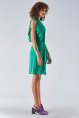 Drexcode - Green dress with asymmetrical sleeves - Halston - Rent - 2