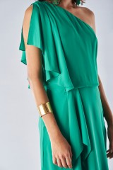 Drexcode - Green dress with asymmetrical sleeves - Halston - Rent - 3
