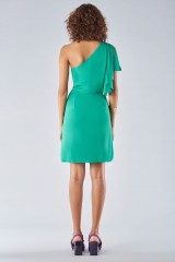 Drexcode - Green dress with asymmetrical sleeves - Halston - Rent - 5