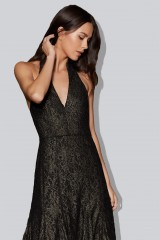 Drexcode - Gold brocade dress with lace - Halston - Rent - 2