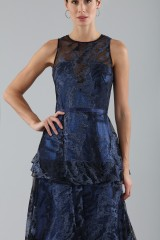 Drexcode - Long flounced dress in blue laminated brocade - Theia - Sale - 4