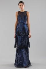 Drexcode - Long flounced dress in blue laminated brocade - Theia - Sale - 6