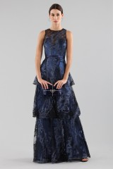 Drexcode - Long flounced dress in blue laminated brocade - Theia - Sale - 5