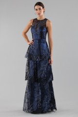 Drexcode - Long flounced dress in blue laminated brocade - Theia - Sale - 1