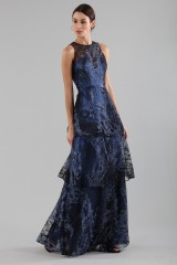 Drexcode - Long flounced dress in blue laminated brocade - Theia - Sale - 3