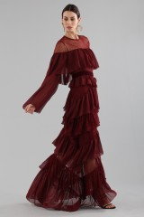 Drexcode - Long burgundy dress with volants - Perseverance - Rent - 2