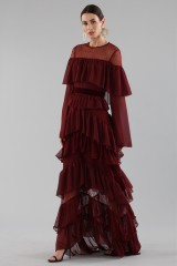 Drexcode - Long burgundy dress with volants - Perseverance - Rent - 5