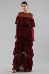 Drexcode - Long burgundy dress with volants - Perseverance - Rent - 7