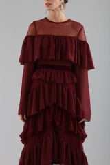 Drexcode - Long burgundy dress with volants - Perseverance - Rent - 6