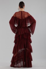 Drexcode - Long burgundy dress with volants - Perseverance - Rent - 3