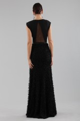 Drexcode - Black dress with finished skirt and V cut to the back - Halston - Rent - 7