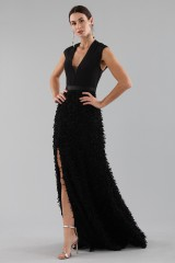 Drexcode - Black dress with finished skirt and V cut to the back - Halston - Rent - 5