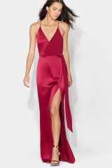 Drexcode - Cherry red satin dress by Halston Heritage - Halston - Rent - 8