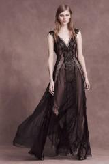 Drexcode - Long black dress with lace neckline - Alberta Ferretti - Rent - 3