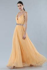 Drexcode - Peach chiffon dress - Alberta Ferretti - Rent - 1