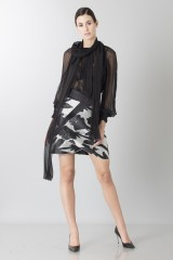 Drexcode - Black and white skirt with roses and silk black blouse - Blumarine - Rent - 1