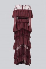Drexcode - Long burgundy dress with volants - Perseverance - Rent - 8