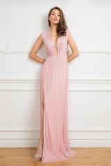 Drexcode - Long pink dress with deep neckline - Cristallini - Rent - 5