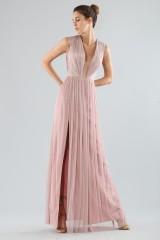 Drexcode - Long pink dress with deep neckline - Cristallini - Rent - 1