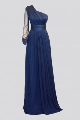Drexcode - One-shoulder blue dress with long sleeve - Cristallini - Rent - 2