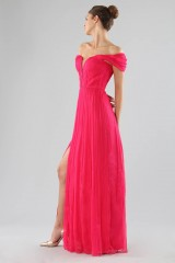 Drexcode - Off-shoulder fuchsia dress with slit - Cristallini - Rent - 3