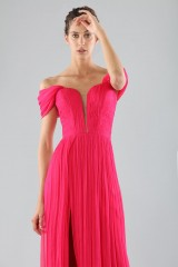 Drexcode - Off-shoulder fuchsia dress with slit - Cristallini - Rent - 6