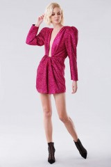 Drexcode - Fuchsia glitter dress with shoulder pads - Daniele Carlotta - Rent - 2