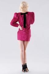 Drexcode - Fuchsia glitter dress with shoulder pads - Daniele Carlotta - Rent - 3