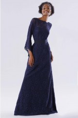 Drexcode - Blue lace dress with long sleeves - Daphne - Rent - 1