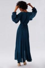 Drexcode - Teal dress in silk georgette - Daphne - Rent - 3
